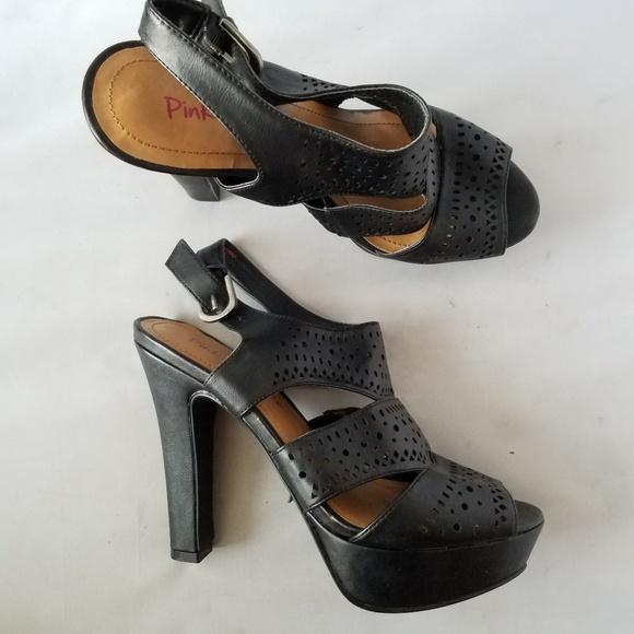 7f3ea874bd2f7 Pink & Pepper Black Strappy Cutout Platform Heels